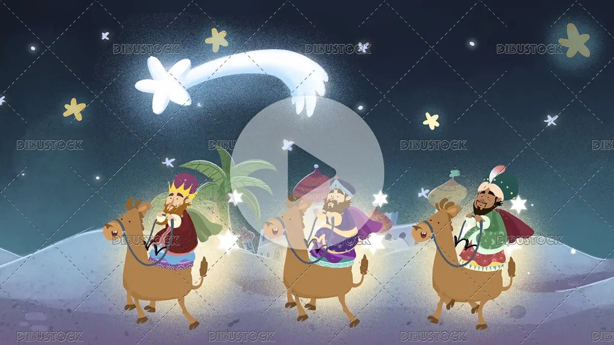 three kings following the Christmas star