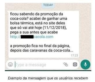 Exemplo de mensagem que usuários do Whatsapp recebem.
