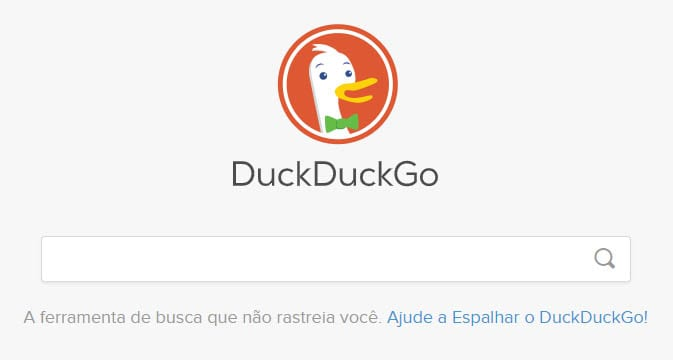 Tela inicial do site DuckDuckGo. | Dica App do Dia