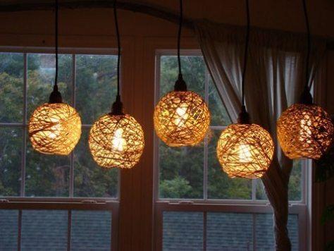 luminária de barbante - etsy