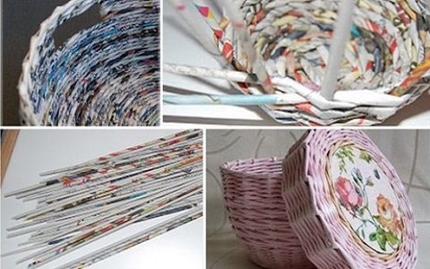 decoração com jornal - cesto