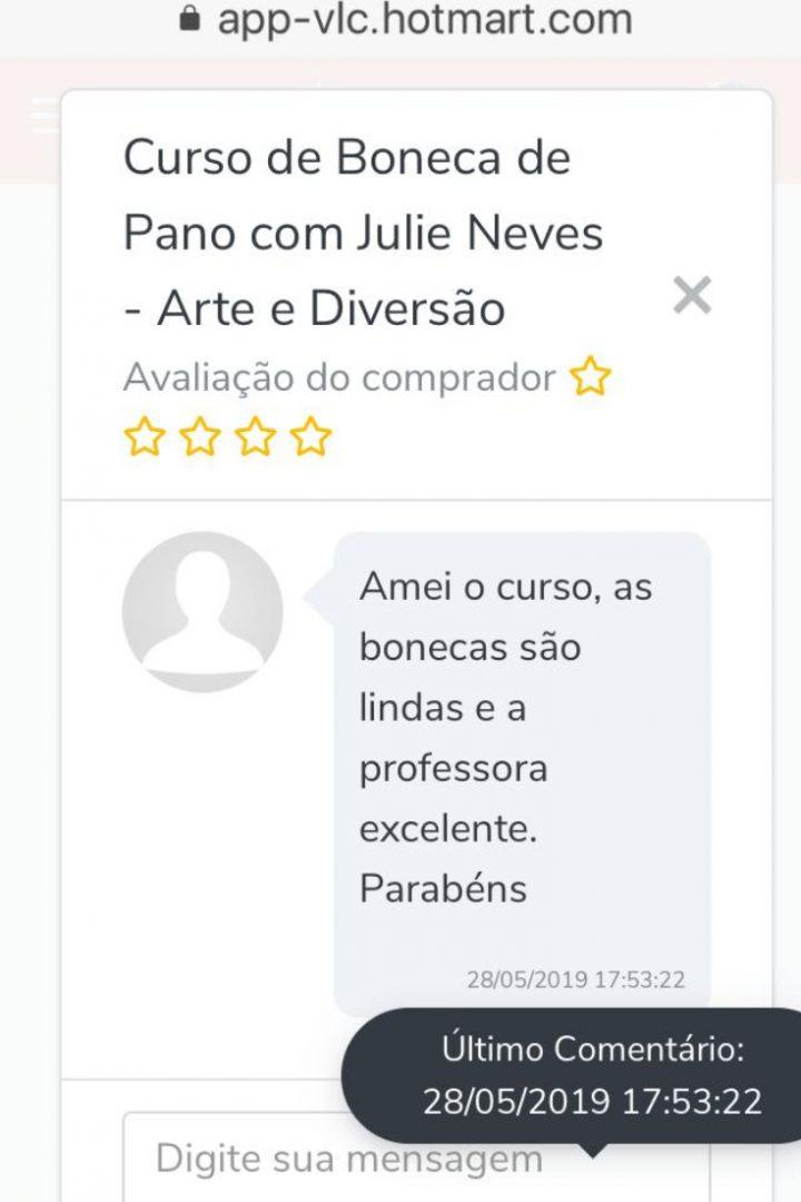Depoimento - Curso de Bonecas de Pano da Julie Neves