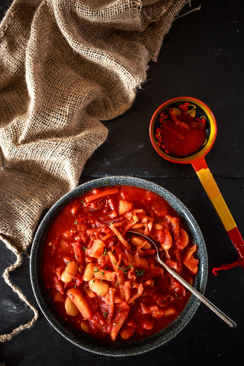 Bowl of Borscht with Russian Ladle
