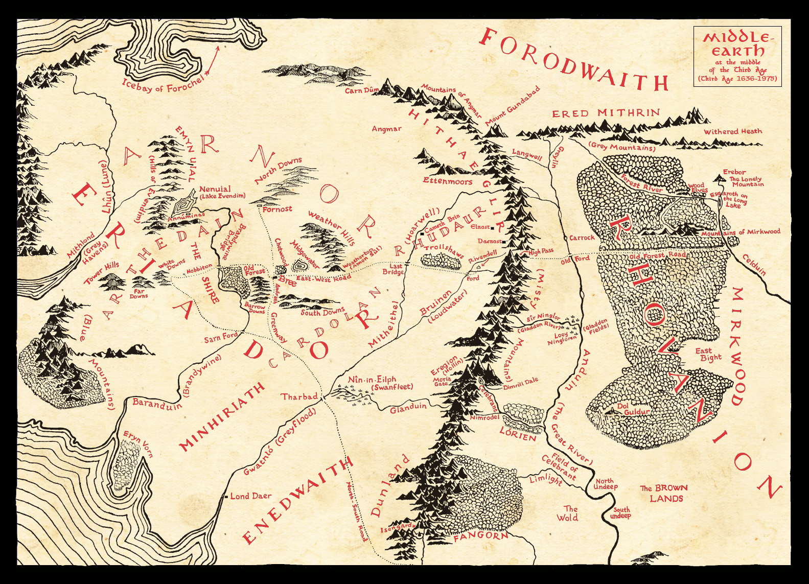 It is a picture of Nifty Printable Map of Middle Earth