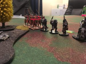 Byzantine cavalry wheels and attempts a charge on the orc unit
