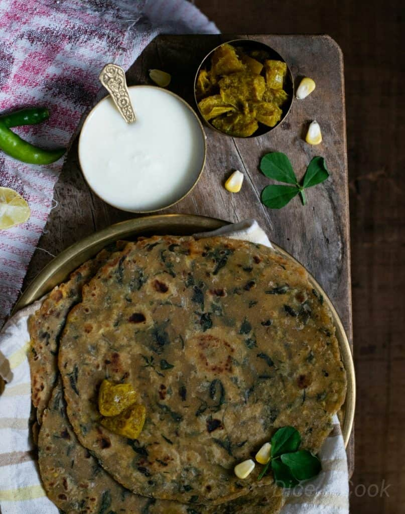Methi-mixed- vegetable-paratha