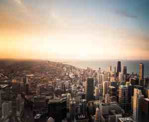 A Chicago Sunset. Photographer Unknown.