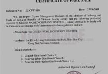 Mẫu giấy CFS do Bộ Công thương cấp (Ảnh DVvnu)