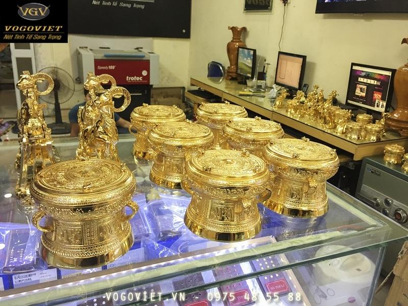 Trống Đồng Đông Sơn Mạ Vàng 24K