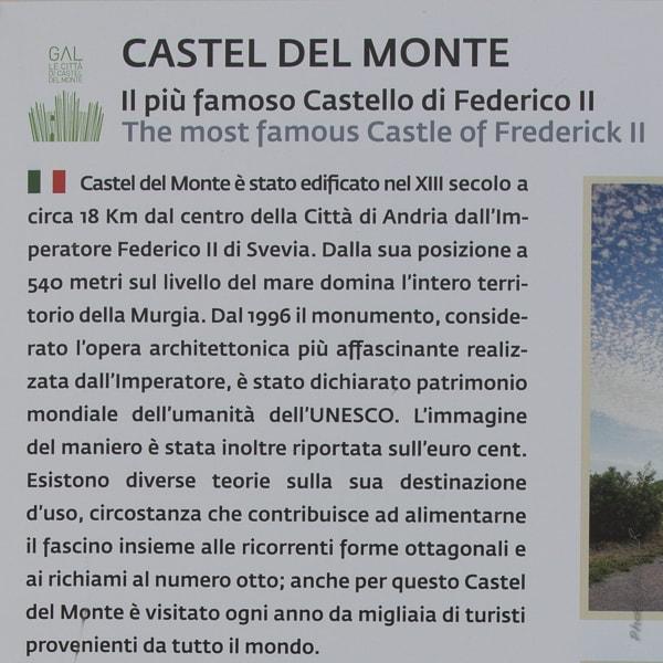 Présentation générale en italien du Castel del Monte