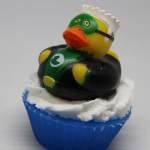 Green super hero ducky soap cupcake