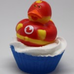 Red super hero ducky soap cupcake