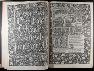 Geoffrey Chaucer, –1400, The Works of Geoffrey Chaucer Now Newly Imprinted. Hammersmith: Kelmscott Press, 1895. Presentation copy from William Morris to Robert Catterson-Smith. Mark Samuels Lasner Collection, University of Delaware Library.