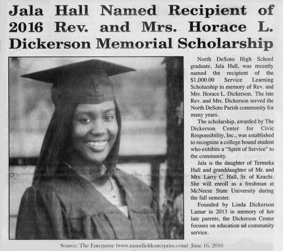 Jala Hall Scholarship Recipient