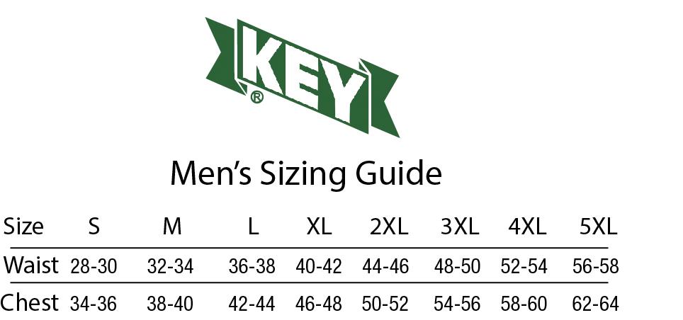 Mens Key Sizing Chart