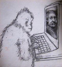 Monkey & Rembrandt cartoon