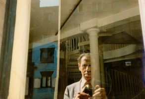 Richard Young behind glass