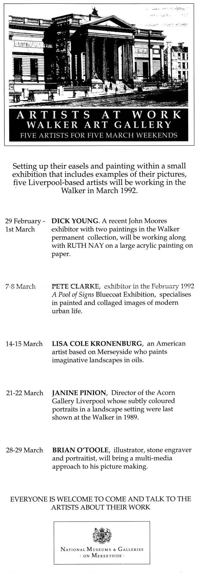 Walker Artists at Work flyer 1992