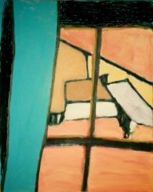 Window - green curtain 1986