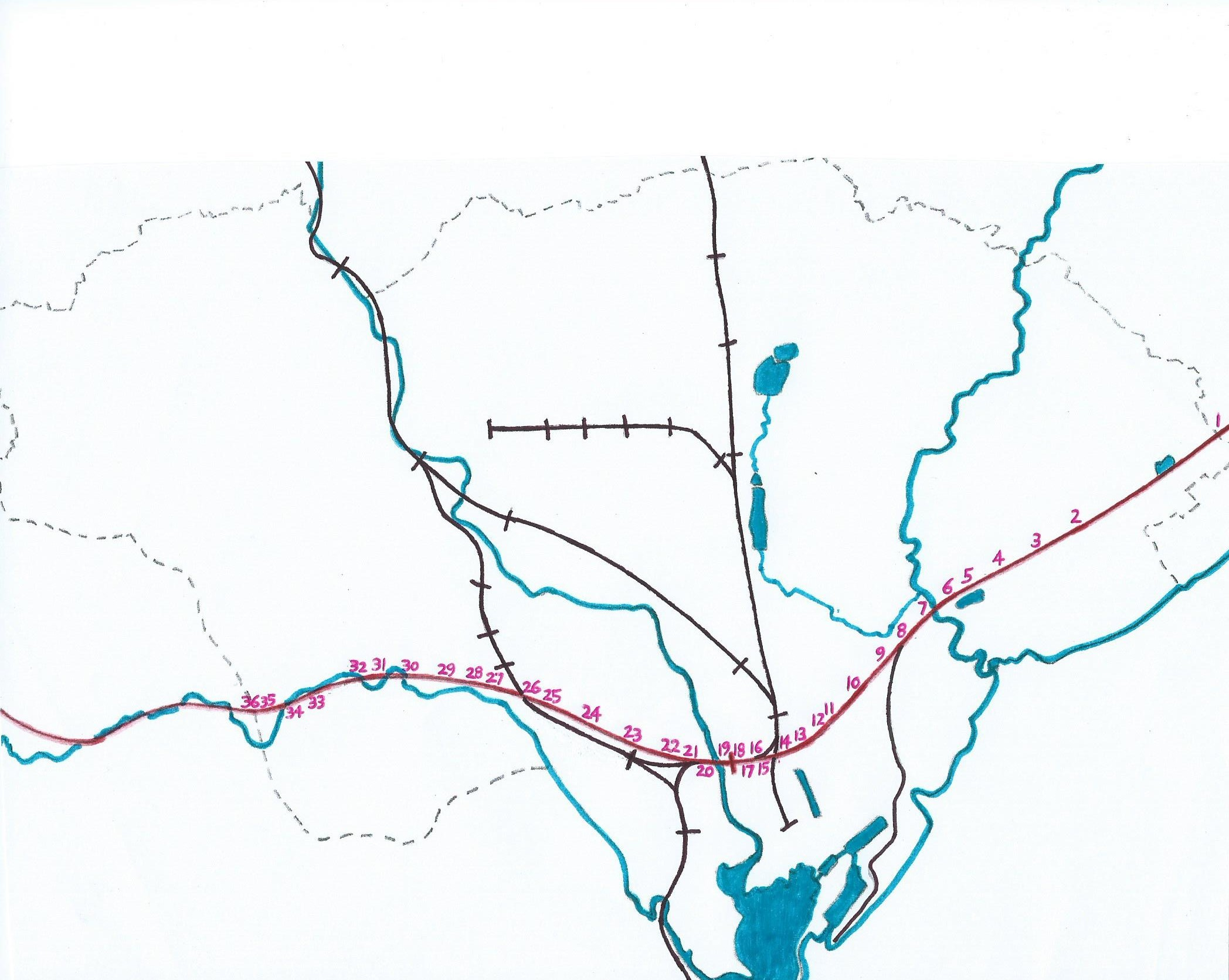 Diagram showing the 36 crossing points in cardiff other railways in black