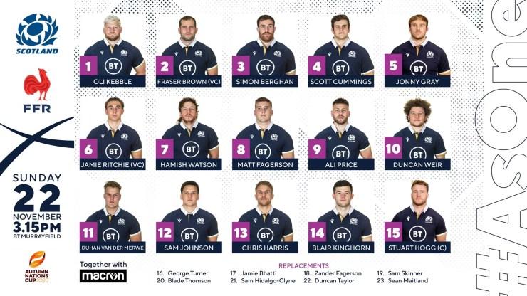 L'équipe d'Écosse pour affronter le XV de France