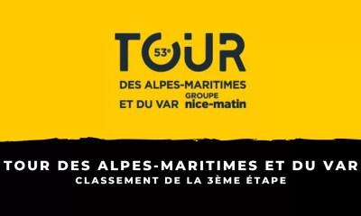 Tour des Alpes-Maritimes et du Var 2021 - Le classement de la 3ème étape