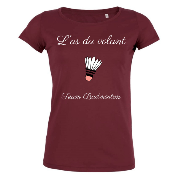 T-shirt Bordeaux Femme As du volant - Team Badminton