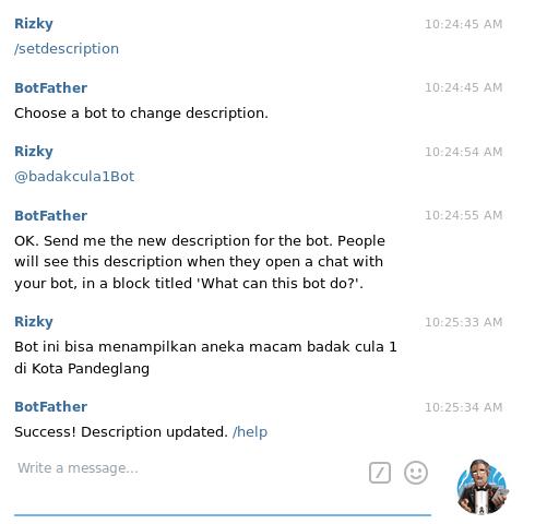 membuat bot telegram - set bot description