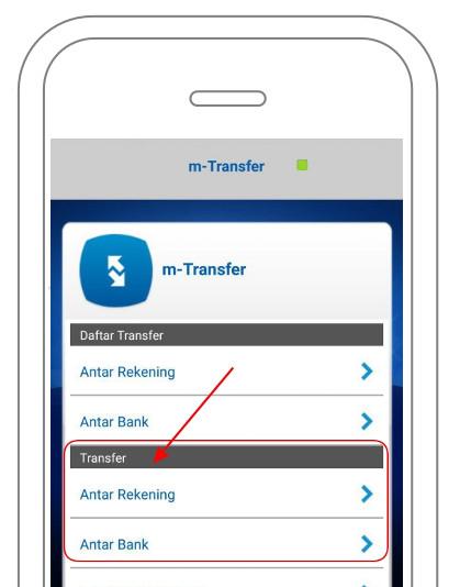 Menu Transfer m-BCA Antar Rekening dan Antar Bank
