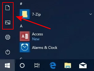 Windows 10 Start Menu: Documents