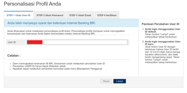 ubah User ID Internet Banking BRI