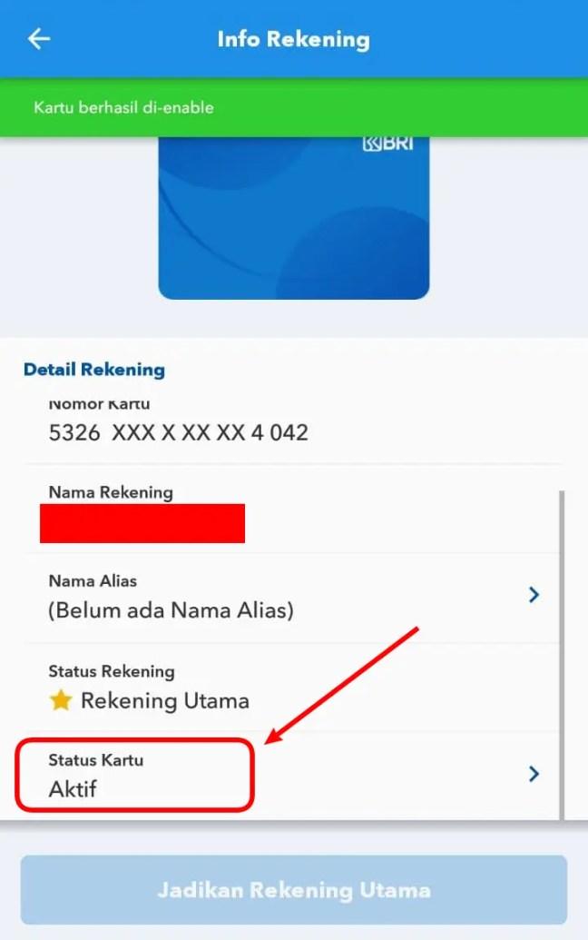 Status Kartu ATM BRI Aktif / Enable