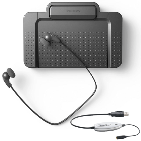 Philips LFH5220 Transcription Typing hardware kit - pedal headphones and audio adapter