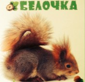 "A squirrel on a notebook. The subtitle says: ""ловко в деревьям скачет, И в дупле орешки прячет. Наша белочка!"" which means in my free translation: Who jumps lightly through the trees, hiding nuts in knotholes. That's our squirrel!"""