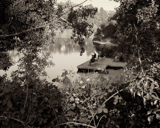 Fishing at Lake Temescal, Oakland, CA, medium format film, Dida Kutz