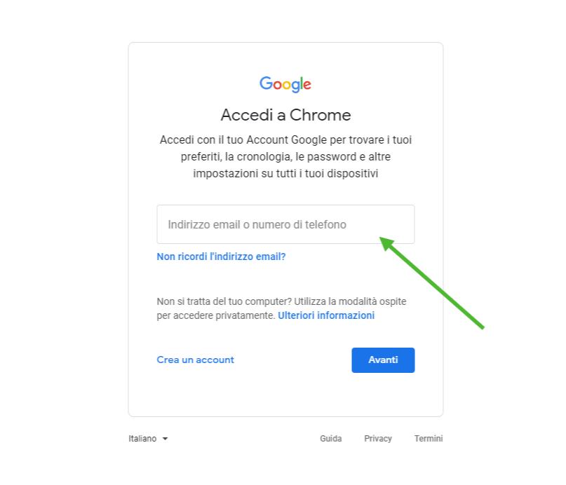 Accedi a Chrome