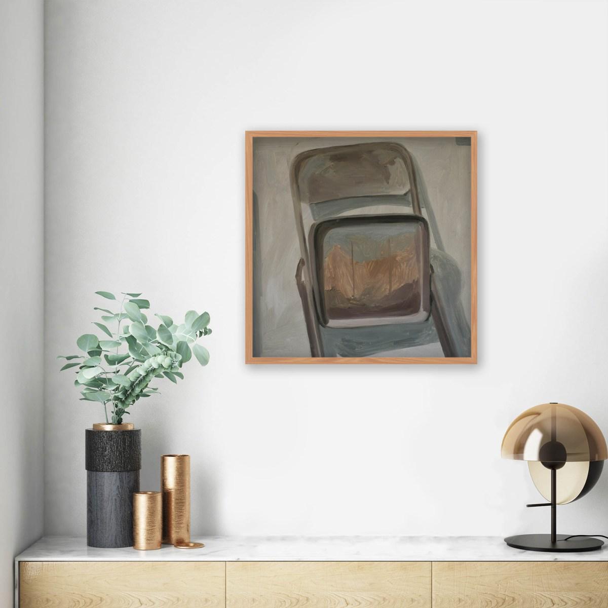 Oleo sobre papel de la artista Alicia Ayanegui en contexto de decoración