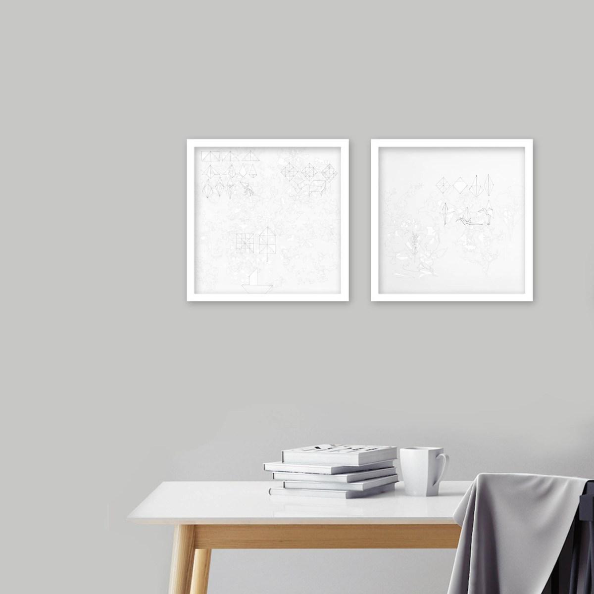 Montaje de 2 obras del reverso de la artista María Campiglia