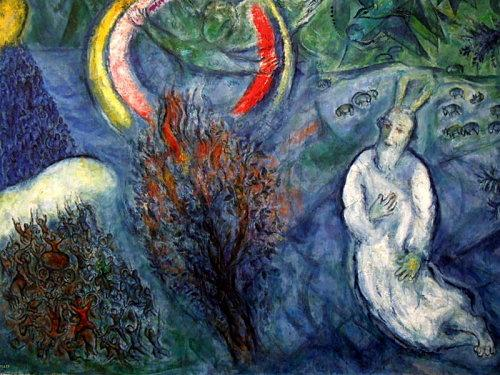 Marc Chagall : Moise devant le buisson ardent