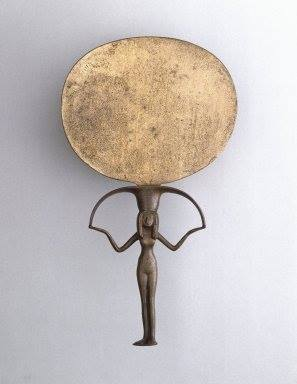 miroir de cuivre égyptien, époque classique XVIIIème dynastie, ~ 1570 av. EC