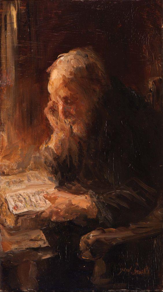 Homme lisant la Bible -Joseph Israël
