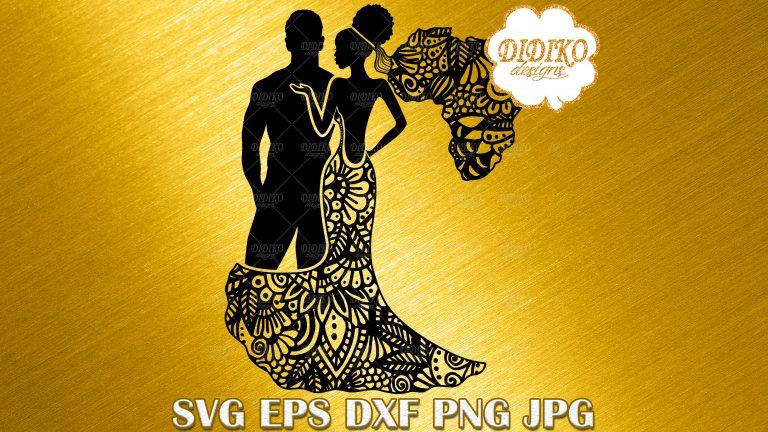 Download Black Couple SVG #1, Zentangle SVG, Afro Wedding SVG ...