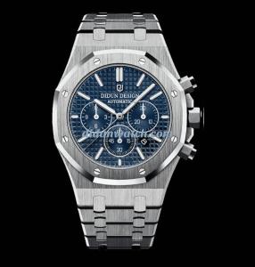 didun watch chronograph Silver & Blue