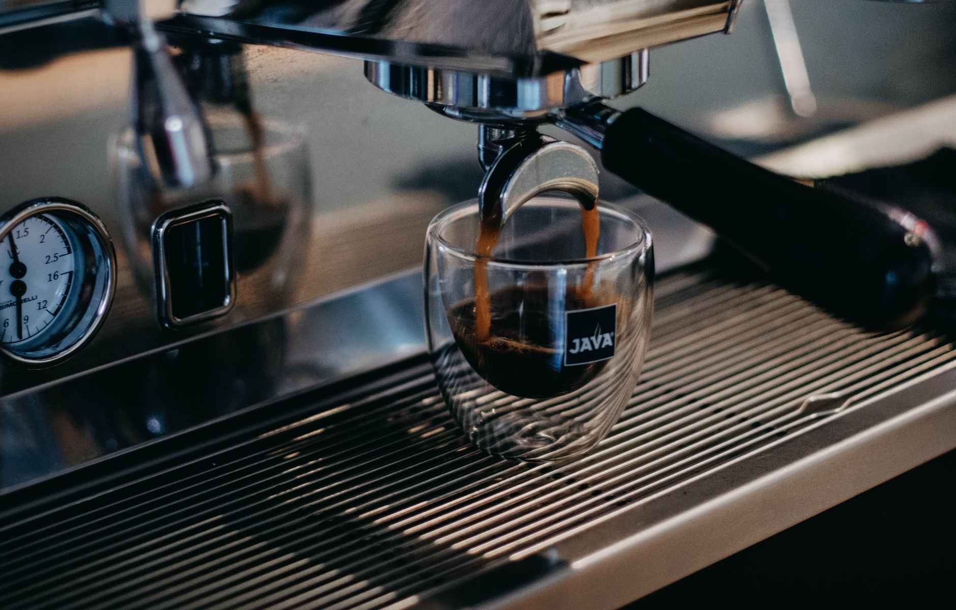 coffee machine brewing hot espresso