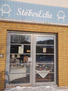 Eingang vom Sozialladen Stöber Ecke in Heiligensee