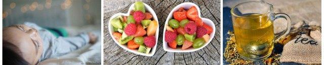 Pseudokrupp vorbeugende Maßnahmen: Obst in herzförmigen Obstschalen, Tasse mit Tee, schlafendes Kind