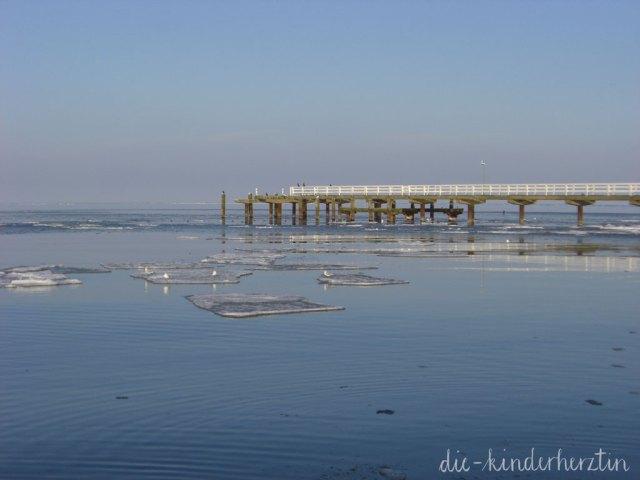 Ostsee Winter Traum Holzsteg und Eisschollen am Meer