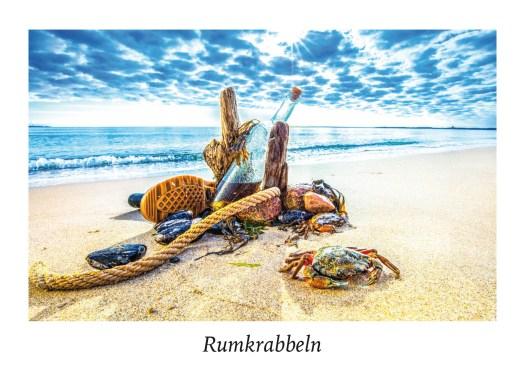 """Ansicht Postkarte """"Rumkrabbeln"""" aus der Serie """"Strandgut"""" Food in der Natur."""