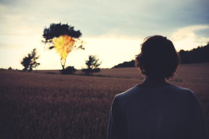 Frau brennender Baum Steppe