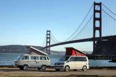 Meeting der VW Campingbusse California unter der Golden Gate. Foto: Auto-Medienportal.Net/VWN/Stephan Lindloff